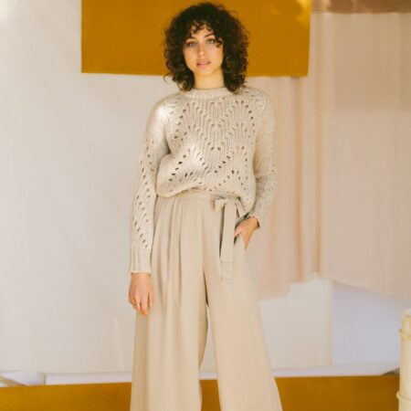 CREAM PLEATED TROUSERS
